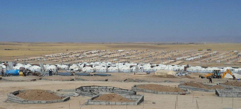Un camp de déplacés en construction en Iraq. Photo HCR Iraq