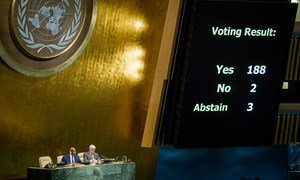 A view of the electronic tally of the result of the vote as General Assembly adopted for the twenty-third consecutive year a resolution calling for an end to the United States' economic, commercial and financial embargo on Cuba, 28 October 2014.