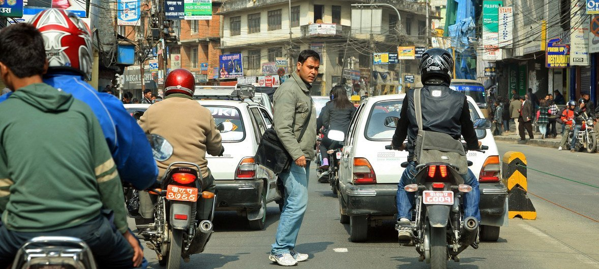 Tráfico en la ciudad de Katmandú, la capital de Nepal.