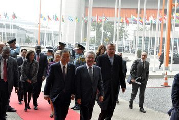 Secretary-General Ban Ki-moon (front, left) accompanied by Heinz Fischer, President of Austria and Yury Fedotov, Director-General, UN Office in Vienna, arriving for the Second UN Conference on landlocked developing countries (LLDC), in Vienna, Austria.
