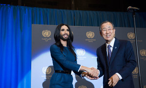 Secretary-General Ban Ki-moon (right) meets with Conchita Wurst, Austrian singer and winner of the Eurovision Song Contest 2014.