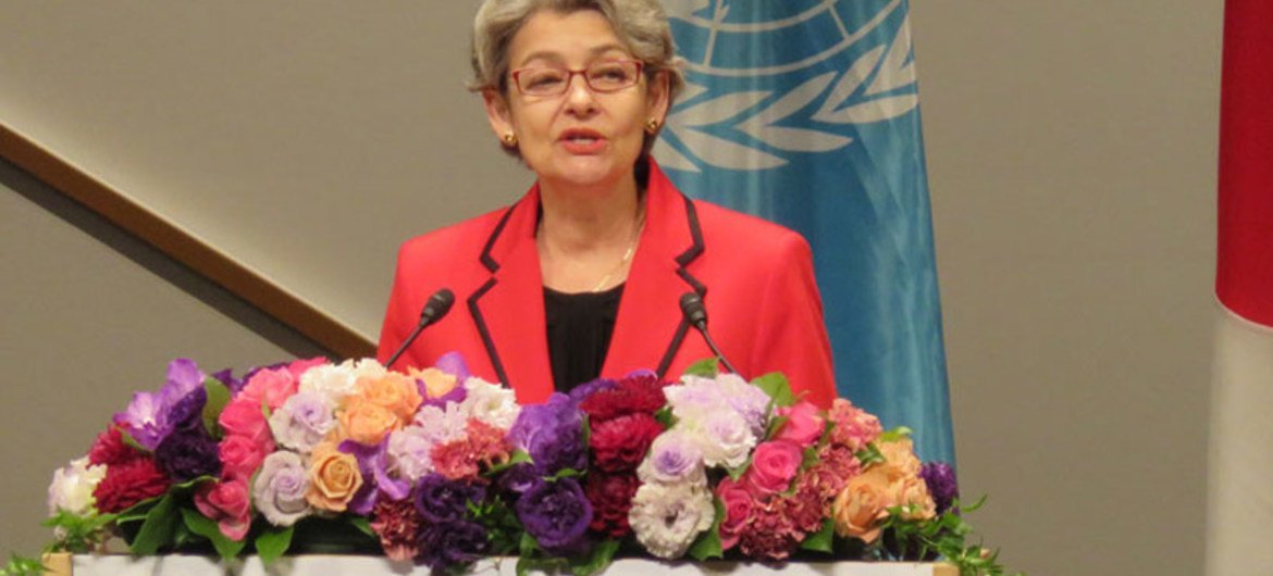 UNESCO Director-General Irina Bokova speaking at the opening of the World Conference on Education for Sustainable Development (ESD) in Aichi-Nagoya, Japan.