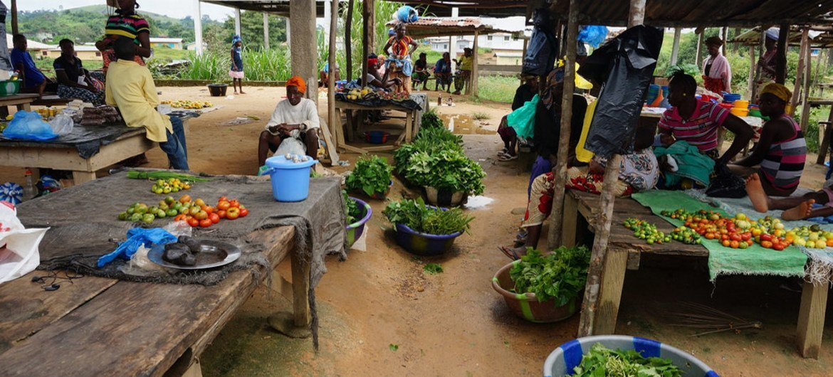 Market stalls with little farm produce due to restrictions in movement in Ebola-affected Kolahun City, Lofa County, Liberia.