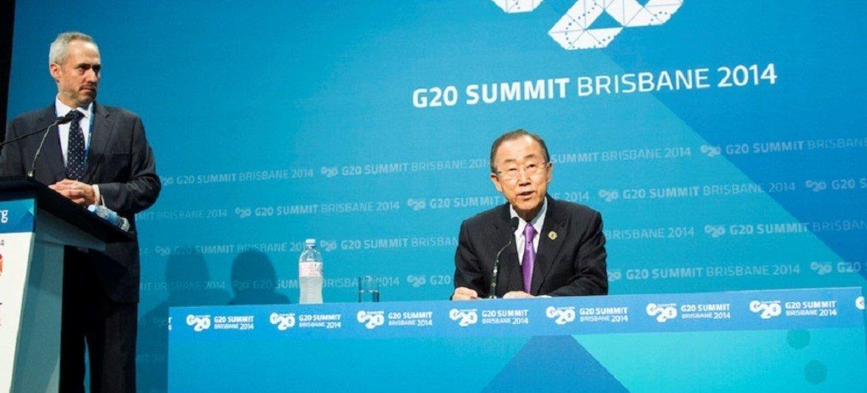 Secretary-General Ban Ki-moon at press conference in Brisbane, Australia for G20 Summit 2014. Also pictured UN Spokesperson Stephane Dujarric.