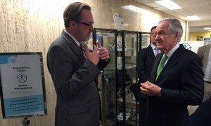 United States Senator Tom Harkin (right) tours UN Accessibility Centre. November 2014.
