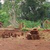 IDPs prepare new homes in a camp in Zémio, Haut-Mbomou, Central African Republic (CAR).