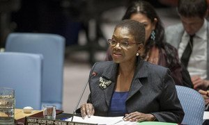 Under-Secretary-General for Coordination of Humanitarian Affairs and UN Emergency Relief Coordinator, Valerie Amos, briefing the Security Council on the humanitarian situation in Syria.