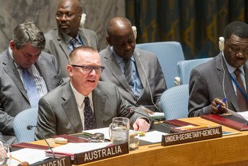 Under-Secretary-General for Political Affairs, Jeffrey Feltman (left), briefs the Security Council at its meeting on general issues relating to sanctions.