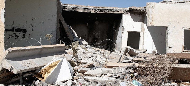 Destrucción por violencia en Libia. Foto de archivo: IRIN/Jorge Vitoria Rubio