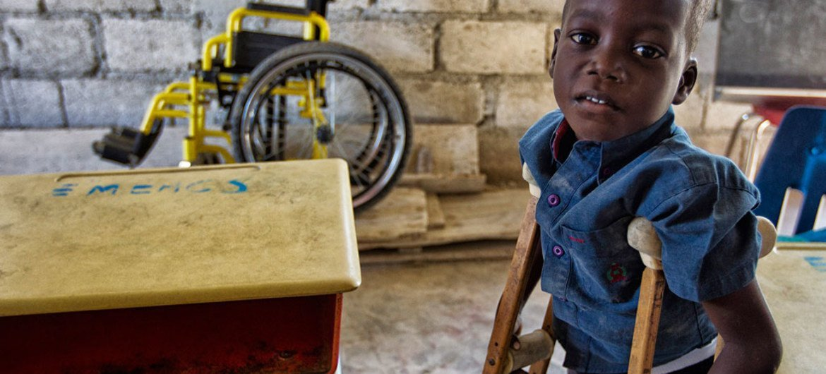 A young student at a school for disabled children in the poor neighborhood of Cité  Soleil in Port-au-Prince, Haiti.