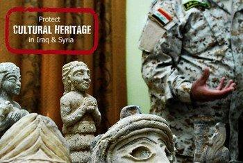 Cartel sobre la protección del patrimonio cultural en Iraq y Siria. Foto: UNESCO