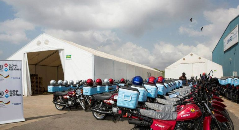 Cooler box-equipped motorbikes donated to UN will speed up Ebola testing process in West Africa