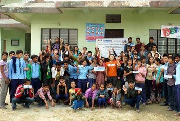 On the occasion of International Volunteers Day 2014, UN Volunteers (UNV) in Nepal organized  'Proper Garbage Disposal and Clean Hands Campaign' for hearing impaired students and staff.