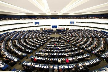 A wide view of the European Parliament in Strasbourg, France.
