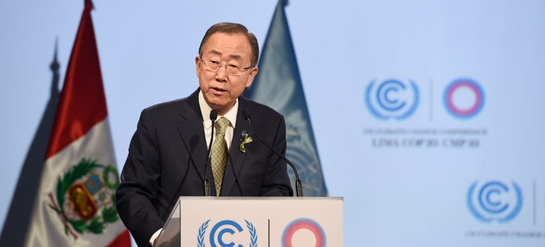 Secretary-General ban Ki-moon addresses the UN Climate Change Conference in Lima, Peru.