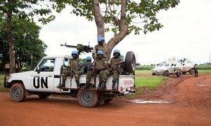 A MINUSCA patrol in Bangui, Central African Republic (CAR).