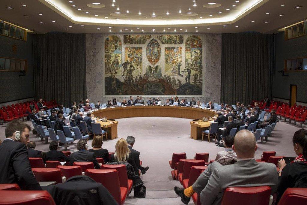 Vue d'ensemble de la salle du Conseil de Sécurité de l'ONU.