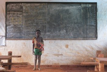 A Congolese refugee at an emergency school in Obo, Haut-Mbomou, Central African Republic, (CAR) after fleeing attacks by the Lord's Resistance Army (LRA).