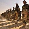 Tropas afganas en entrenamiento en un centro militar en Kabul. Desde la retirada de las tropas estadounidenses hace seis meses, sigue habiendo enfrentamientos contra militantes talibanes