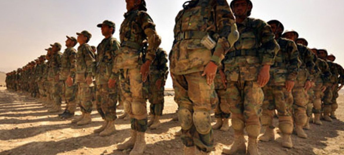 Afghan troops being trained by NATO at one of the military training centres in Kabul.