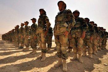 Des troupes afghanes formées par l'OTAN dans un centre d'entrainement à Kaboul. Photo MANUA