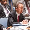 Secretary-General Ban Ki-moon addresses the Security Council on cooperation between the African Union and the United Nations.