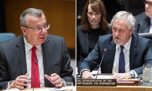 UNODC's Yury Fedotov (left) and UNAMA's Nicholas Haysom address the Security Council on the situation in Afghanistan and its implications for international peace and security.