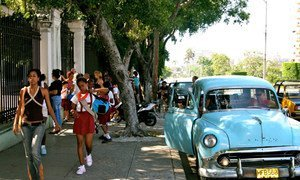 Kids going to school in Havana, Cuba, 2008.