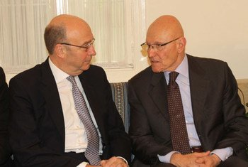 Special Coordinator for Lebanon, Derek Plumbly (left) with Prime Minister Tamam Salam.