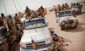 UN peacekeepers patrolling Tessalit, northern Mali.