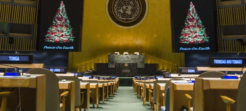 Зал Генеральной Ассаблеи. Фото ООН/Аманда Вуасар