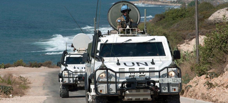 Des Casques bleus de la FINUL patrouillan au sud du Liban. Photo FINUL/Pasqual Gorriz