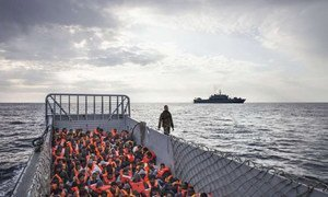 This Italian Navy landing craft is carrying 186 people who have been rescued at sea.