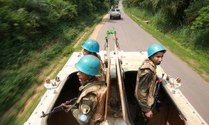 UN peacekeepers patrol Camp Lieutenant General Jean-Lucien Bahuma in Kisangani, Oriental Province, Democratic Republic of the Congo (DRC), which is hosting former FDLR combatants.