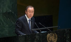 Secretary-General Ban Ki-moon briefs the General Assembly on the UN's priorities.