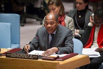 Le Chef du Bureau des Nations Unies pour l'Afrique de l'Ouest et le Sahel (UNOWAS), Mohamed Ibn Chambas, lors d'une présentation au Conseil de sécurité.