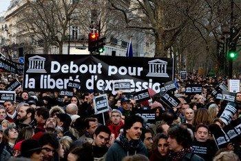 Une vue des participants à la marche de dimanche organisée pour la liberté d'expression et pour la solidarité avec les victimes de l'attaque contre le magazine  Charlie Hebdo.
