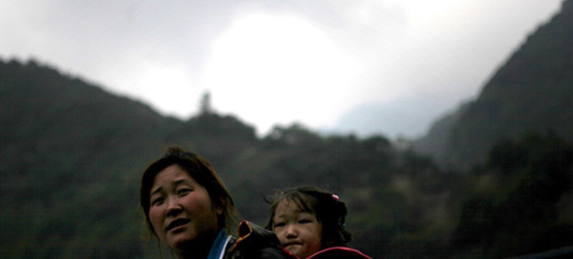 Mother and child in Baoxing County, Sichuan Province, China.