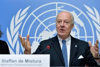 Special Envoy for Syria Staffan de Mistura briefs the press in Geneva in January 2015.