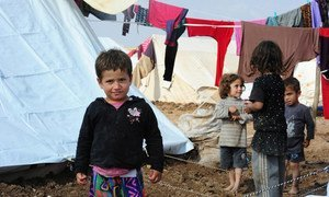 Children in the Khanke Camp near Dohuk city, Iraq, which mainly houses Yazidis fleeing from the Islamic State of Iraq and the Levant (ISIL).
