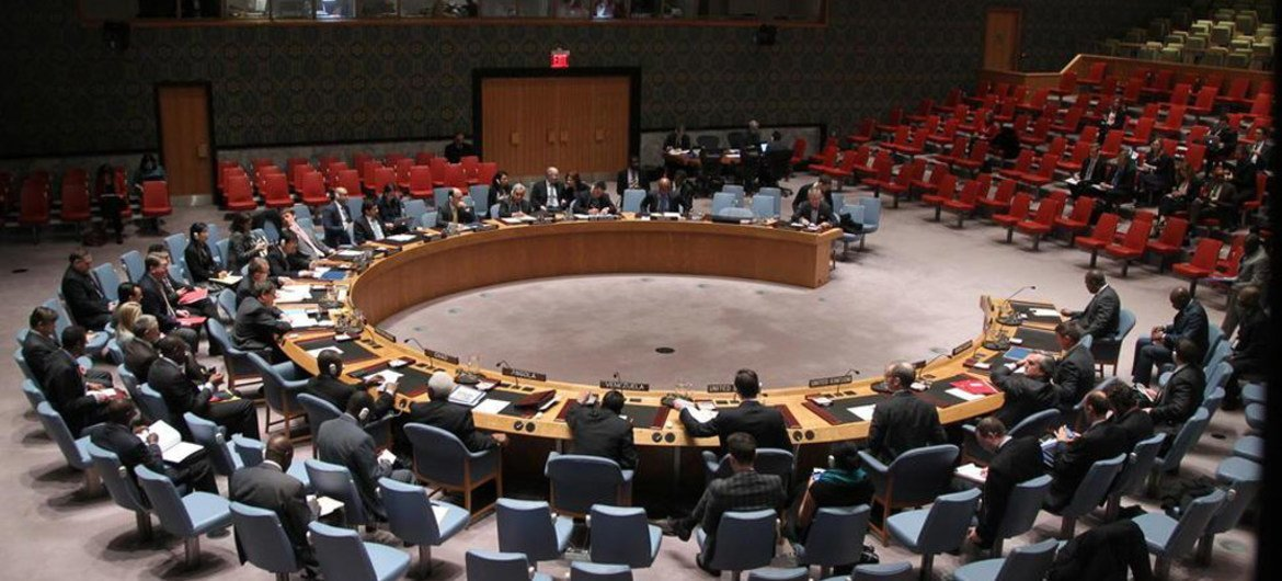 A wide view of the Security Council in session.