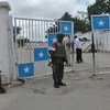 UN peacekeepers manning the main gate to Villa Somalia, the official residential palace and principal workplace of the President of Somalia (file photo)