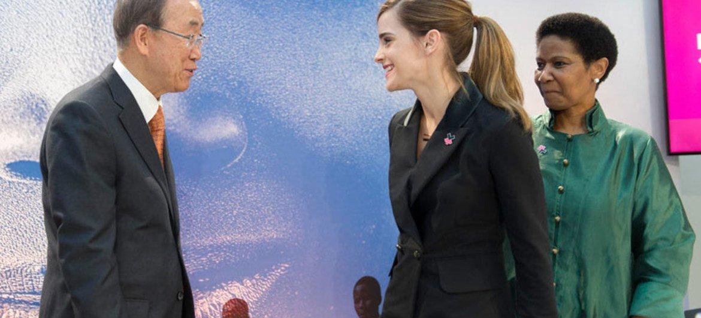 Secretary-General Meets UN Women Goodwill Ambassador Emma Watson in the presence of Phumzile Mlambo-Ngcuka, Executive Director of UN Women.