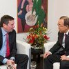 Secretary-General Ban Ki-moon (right) meets with Christian Paradis, Minister for International Development of Canada, in Davos, Switzerland.
