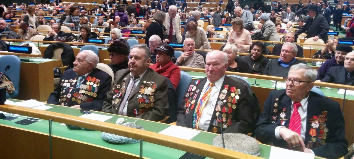 Soviet Army Veterans attend the Holocaust Memorial ceremony at the United Nations.