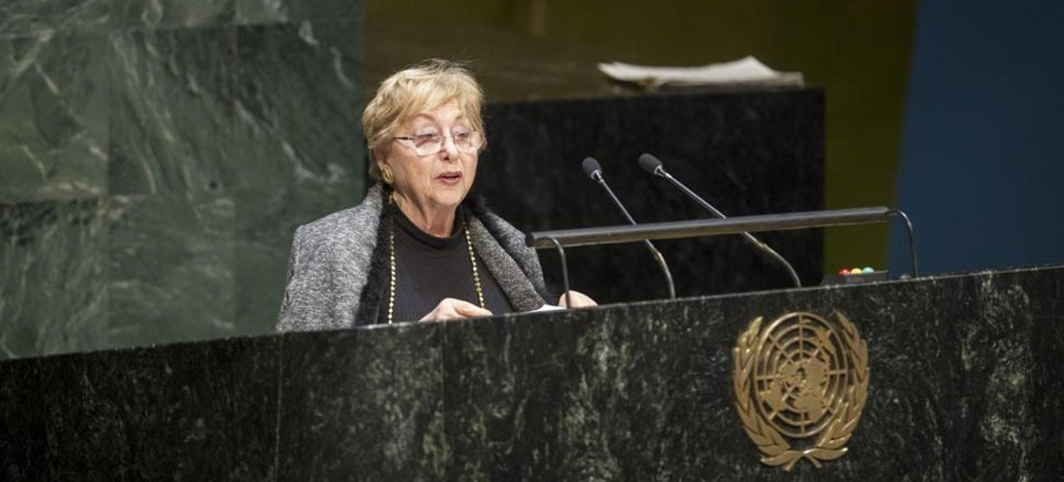 Holocaust survivor Jona Laks addresses the UN General Assembly's annual International Day of Commemoration in Memory of the Victims of the Holocaust.