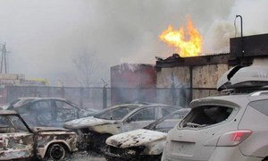 Damage caused by shelling in eastern Ukraine.