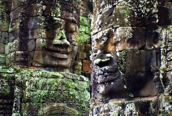 Statues on the Angkor Wat temple in Siem Reap Cambodia.
