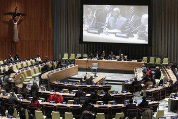 联大性剥削与性虐待问题通报会会议厅托管理事会会议厅。联合国/Evan Schneider