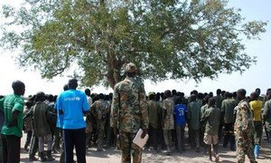Demobilized child soldiers in the village of Gumuruk, Jonglei State, South Sudan.